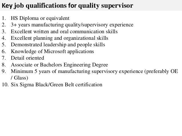 Quality supervisor job description