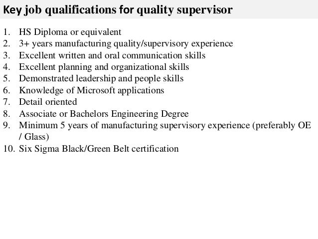 supervisor job description
