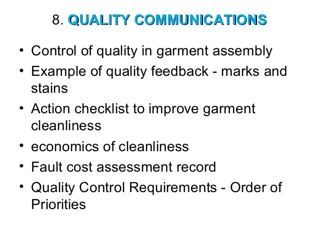 Garment Quality Control Resume Sample