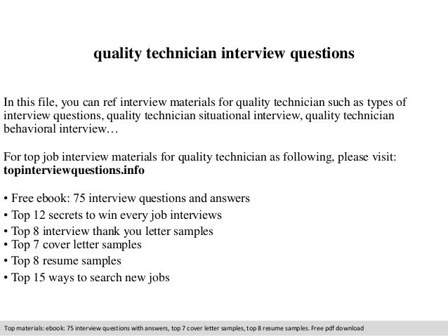 Quality Technician Interview Questions In This File, You Can Ref Interview  Materials For Quality Technician ...