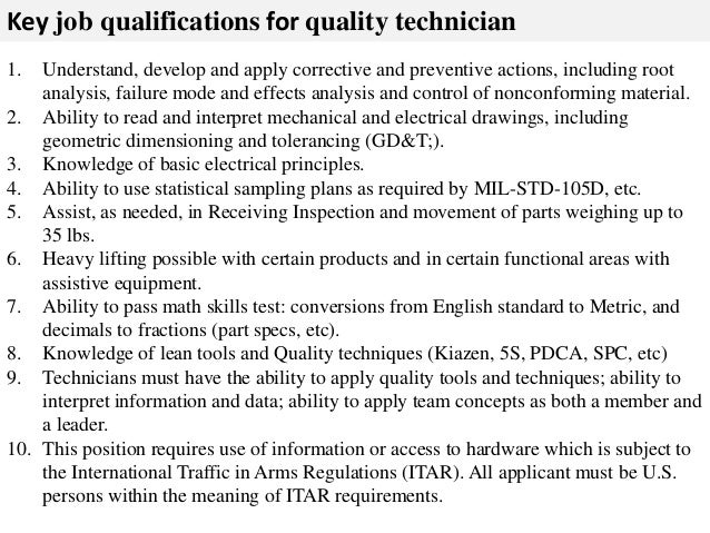 quality control technician job description