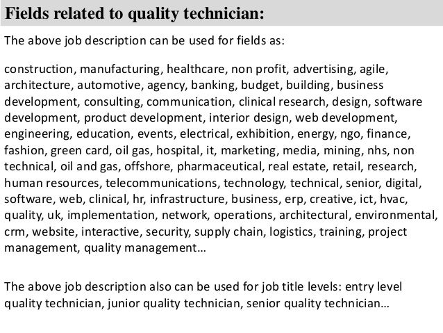 8 fields related to quality technician the above job description auto technician job description