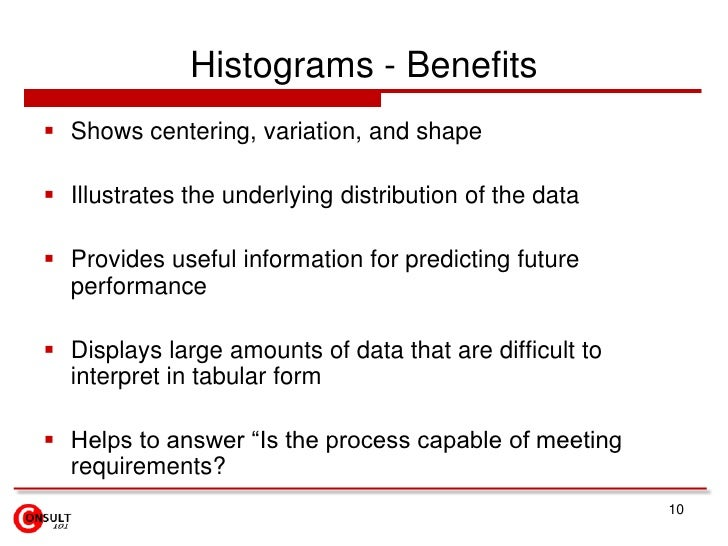 Histograms - Benefits<br />Shows centering, variation, and shape<br />Illustrates the underlying distribution of the data<...