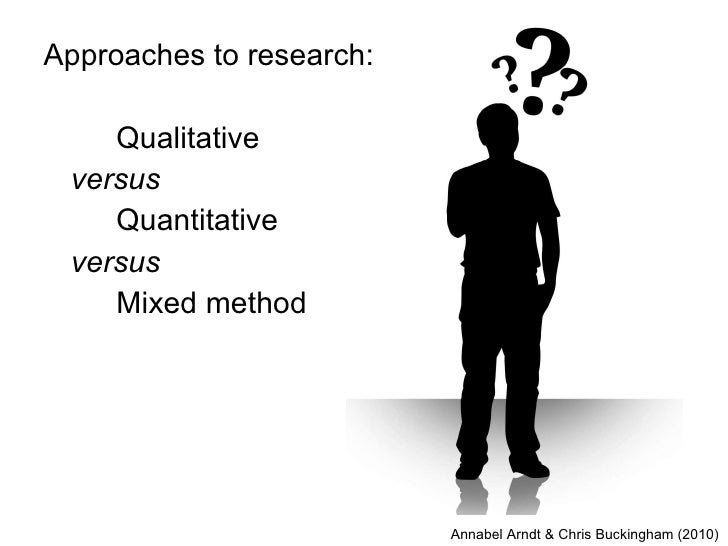 <ul><li>Approaches to research: </li></ul><ul><li>Qualitative </li></ul><ul><li>versus </li></ul><ul><li>Quantitative </li...