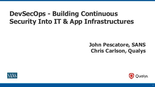 1 DevSecOps - Building Continuous Security Into IT & App Infrastructures John Pescatore, SANS Chris Carlson, Qualys