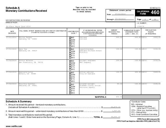 Jean Quan FPPC Form 460, 7-1-14 to 9-30-14