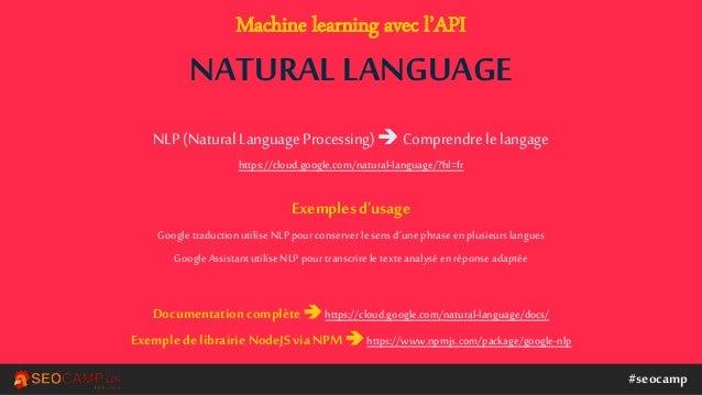 #seocamp Machine learning avec l'API NATURAL LANGUAGE NLP (NaturalLanguage Processing)  Comprendre le langage https://clo...