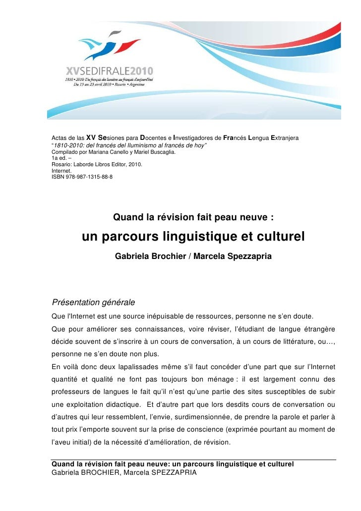 Quand la révision fait peau neuve: un parcours culturel et linguistique