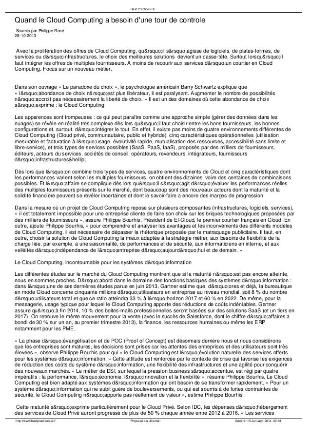 Best Practices SI  Quand le Cloud Computing a besoin d'une tour de controle Soumis par Philippe Rosé 28-10-2013  Avec la p...