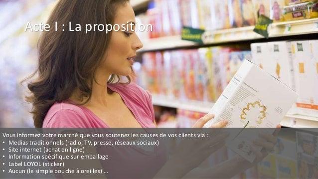 Acte I : La proposition Vous informez votre marché que vous soutenez les causes de vos clients via : • Medias traditionnel...