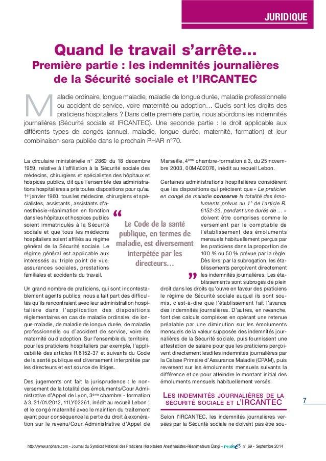 7 La circulaire ministérielle n° 2869 du 18 décembre 1959, relative à l'affiliation à la Sécurité sociale des médecins, ch...