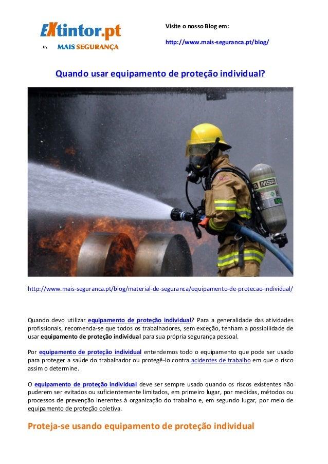 Quando  usar  equipamento  de  proteção  individual?      ...