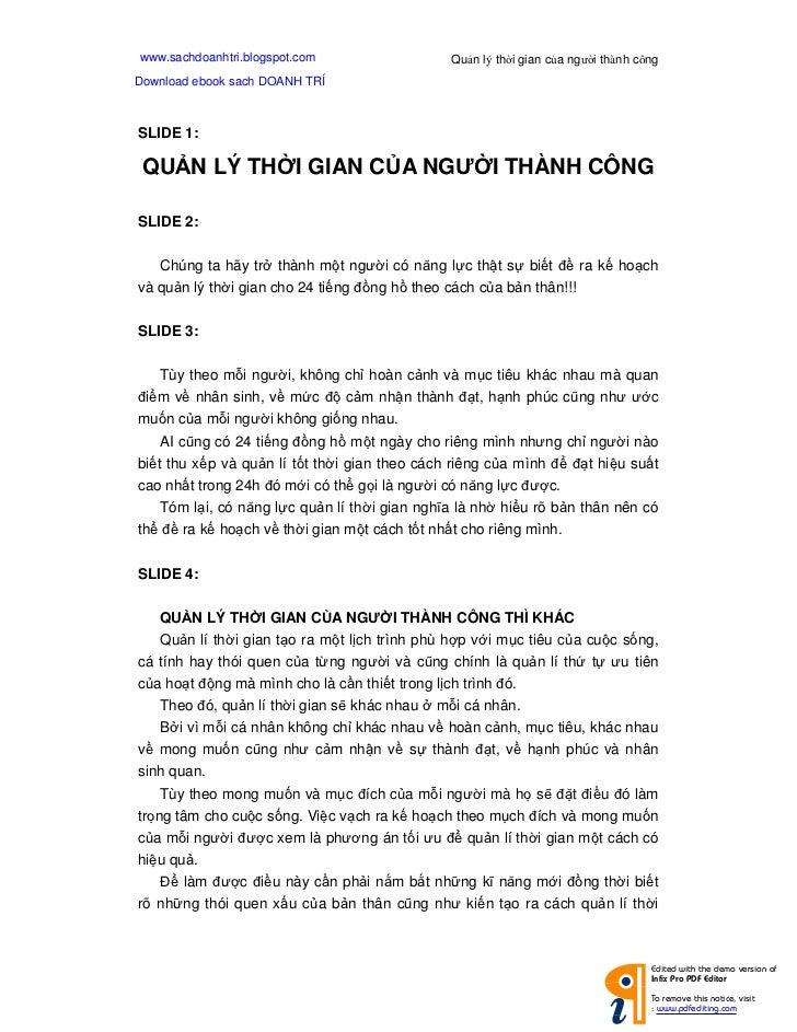 www.sachdoanhtri.blogspot.com                   Qu n lý th i gian c a ngư i thành côngDownload ebook sach DOANH TRÍSLIDE 1...