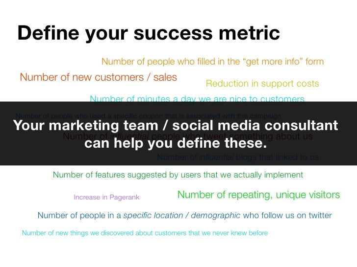 "Define your success metric                          Number of people who filled in the ""get more info"" form  Number of new c..."