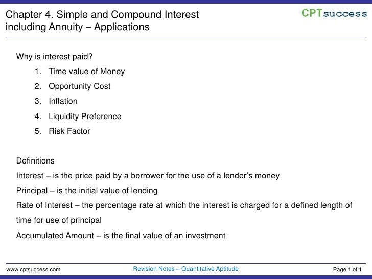 Chapter 4. Simple and Compound Interest including Annuity – Applications<br />Why is interest paid?<br />Time value of Mon...