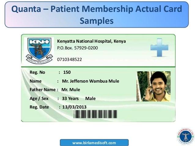 PPT Hospital management system Quantahis – Membership Card Samples