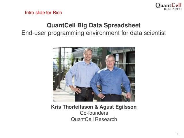 1 QuantCell Big Data Spreadsheet End-user programming environment for data scientist Kris Thorleifsson & Agust Egilsson Co...
