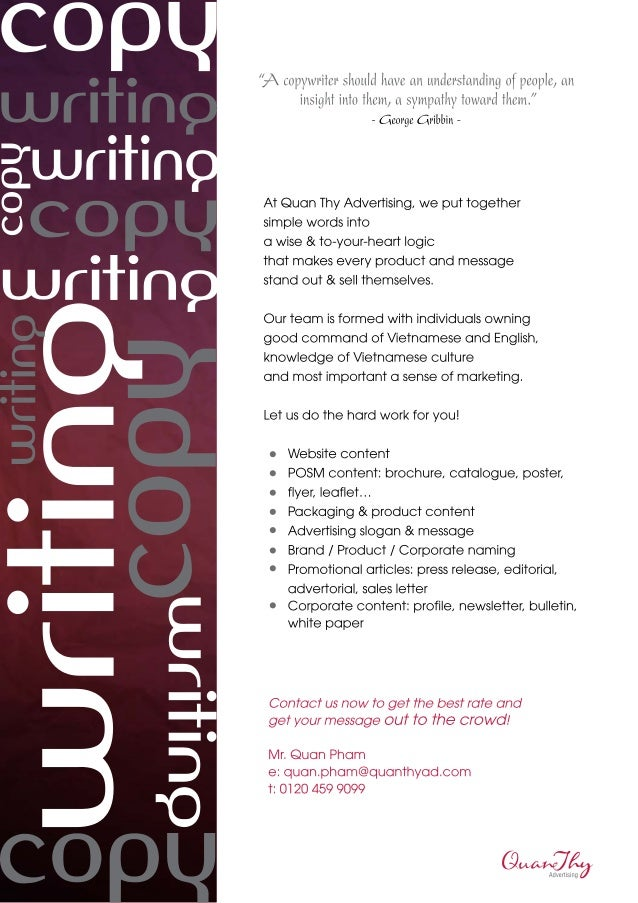 Quan Thy Advertising - Copy writing services