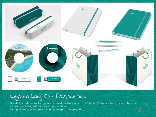 """Laguna Lang Co - Destination The design is driven by the green color and the leaf pattern. The """"simplicity"""" remains throug..."""