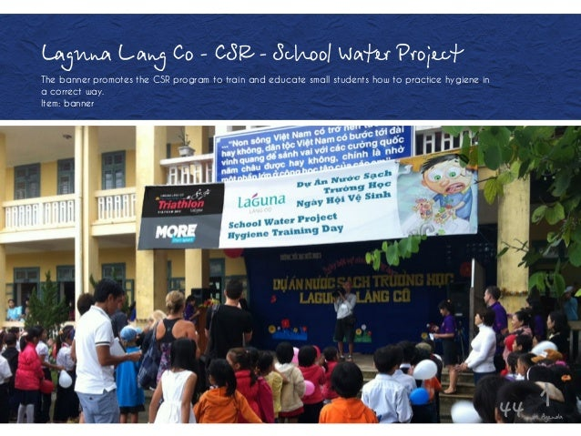 Laguna Lăang Co - CSR - School Water Project The banner promotes the CSR program to train and educate small students how t...