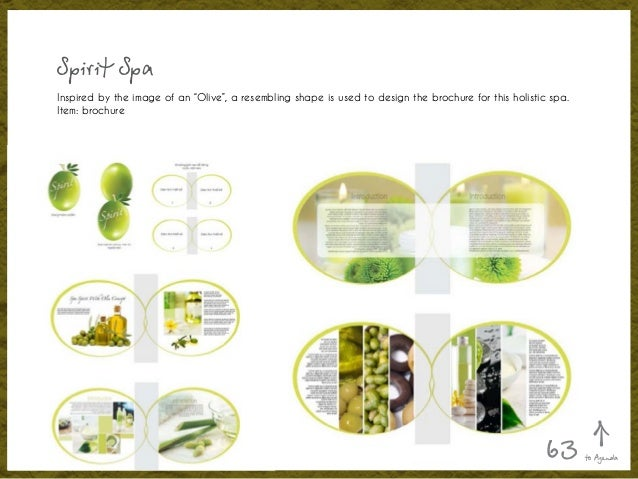 """Spirit Spa Inspired by the image of an """"Olive"""", a resembling shape is used to design the brochure for this holistic spa. I..."""