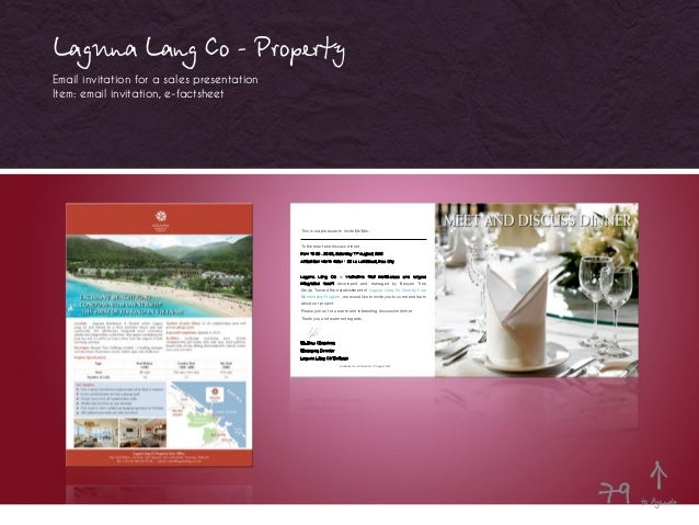 Laguna Lang Co - Property Email invitation for a sales presentation Item: email invitation, e-factsheet This is our pleasu...