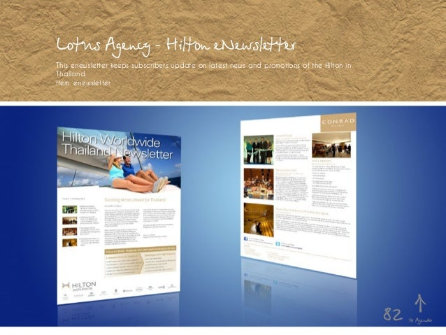 Lotus Agency - Hilton eNewsletter This enewsletter keeps subscribers update on latest news and promotions of the Hilton in...