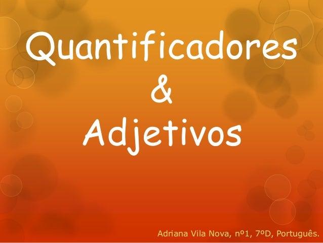 Quantificadores       &  Adjetivos       Adriana Vila Nova, nº1, 7ºD, Português.