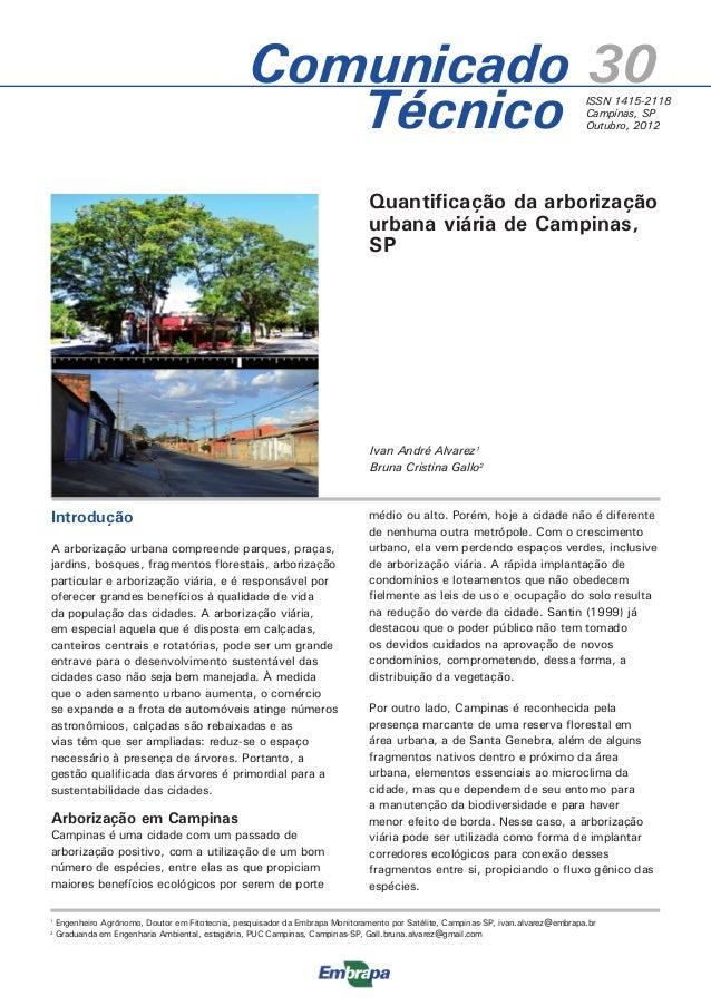 Ivan André Alvarez1 Bruna Cristina Gallo2 Quantificação da arborização urbana viária de Campinas, SP Introdução A arboriza...