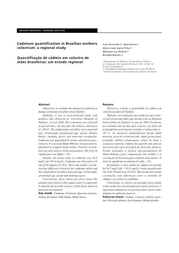 A RTIGOS ORIGINAIS / ORIGINAL ART I C L E S     Cadmium quantification in Brazilian mothers                               ...