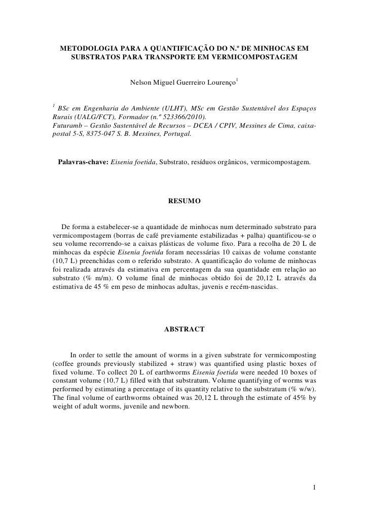 METODOLOGIA PARA A QUANTIFICAÇÃO DO N.º DE MINHOCAS EM       SUBSTRATOS PARA TRANSPORTE EM VERMICOMPOSTAGEM               ...