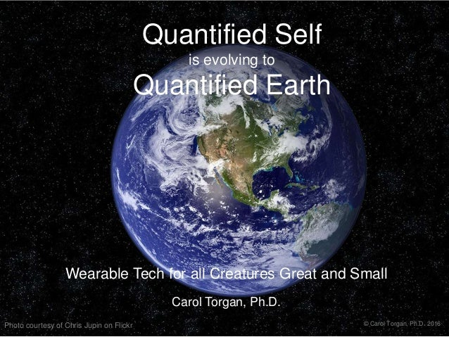 Quantified Self is evolving to Quantified Earth Wearable Tech for all Creatures Great and Small Carol Torgan, Ph.D. Photo ...