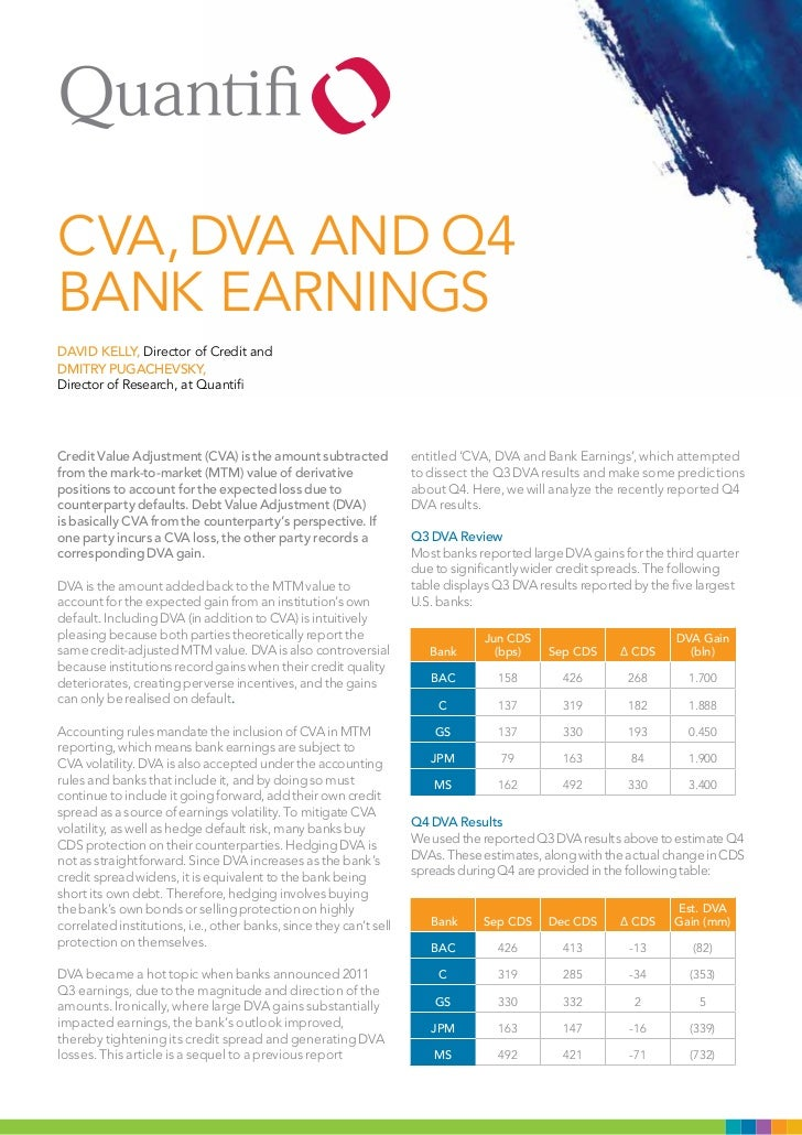 CVA, DVA AnD Q4BAnk EARningsDAVID KElly, Director of Credit andDMITRy PuGAChEVSKy,Director of Research, at QuantifiCredit ...