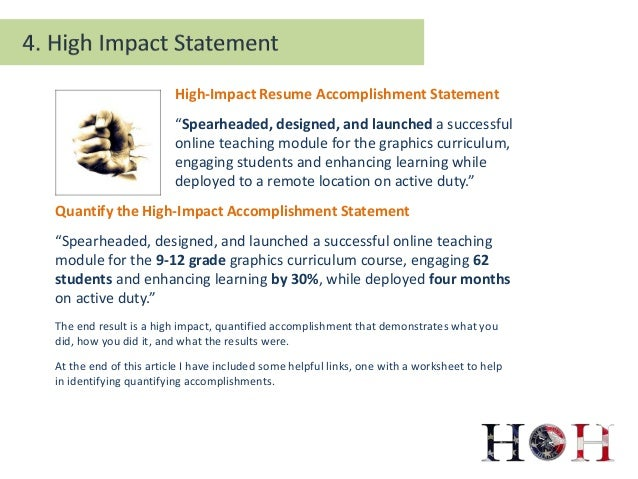 7. High Impact Resume Accomplishment Statement U201c ...  Accomplishment Statements For Resume