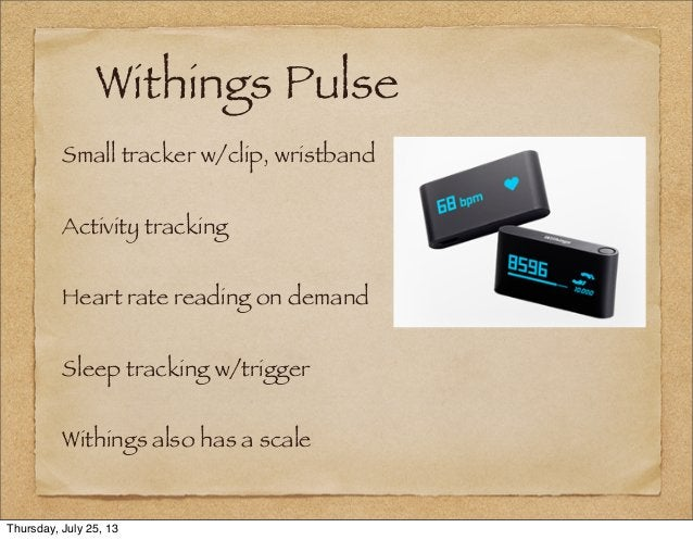 Withings Pulse Small tracker w/clip, wristband Activity tracking Heart rate reading on demand Sleep tracking w/trigger Wit...