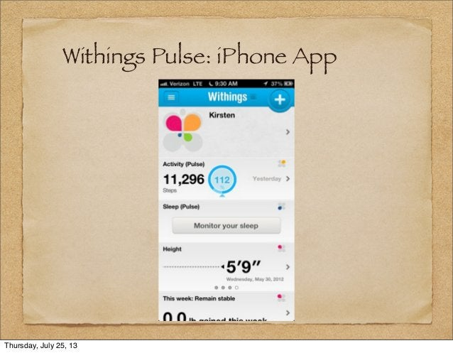 Withings Pulse: iPhone App Thursday, July 25, 13