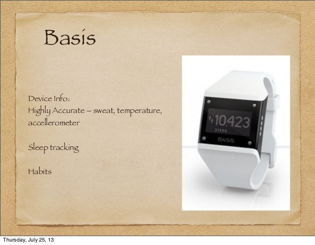 Basis Device Info: Highly Accurate – sweat, temperature, accellerometer Sleep tracking Habits Thursday, July 25, 13