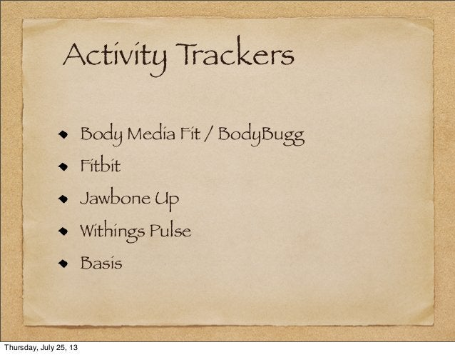 Activity Trackers Body Media Fit / BodyBugg Fitbit Jawbone Up Withings Pulse Basis Thursday, July 25, 13