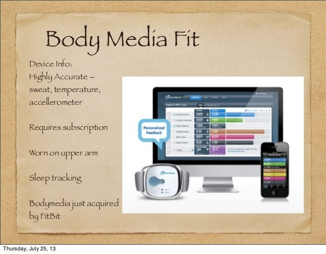 Body Media Fit Device Info: Highly Accurate – sweat, temperature, accellerometer Requires subscription Worn on upper arm S...