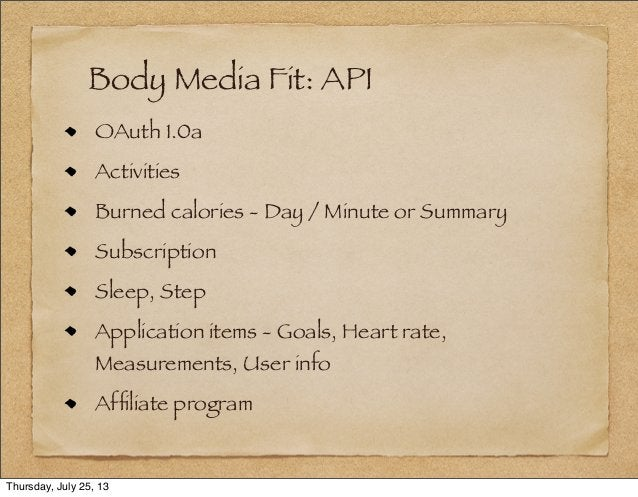 Body Media Fit: API OAuth 1.0a Activities Burned calories - Day / Minute or Summary Subscription Sleep, Step Application i...