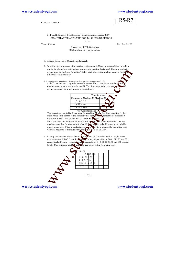 Quantitative Analysis For Business Decisions Set1