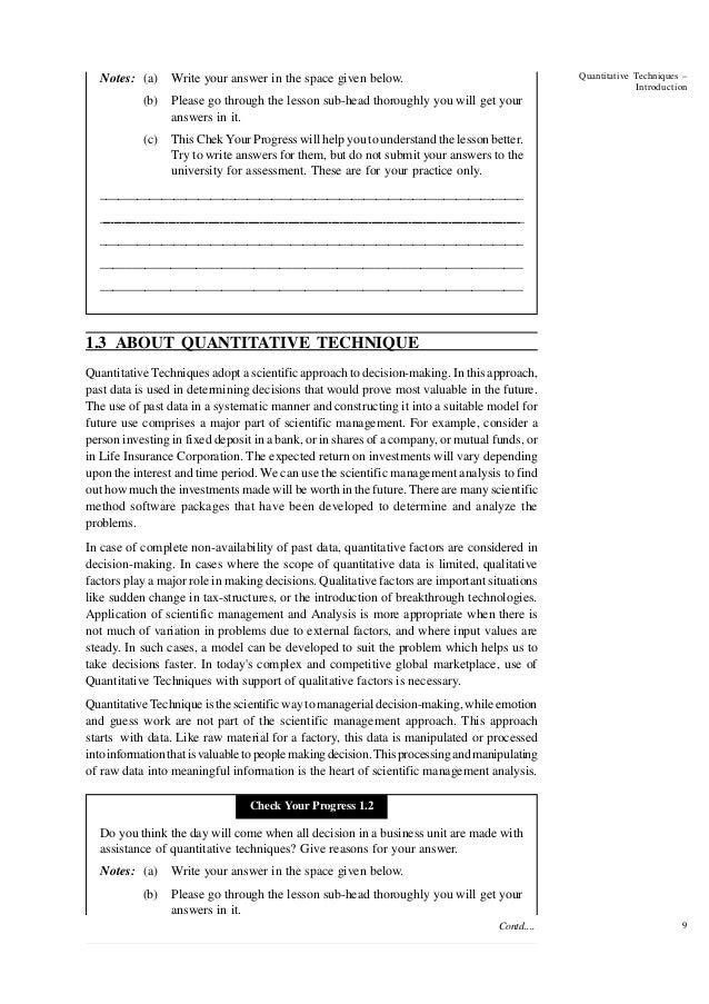 Sub quantitative techniques in management