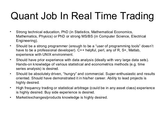 Forex quantitative analyst