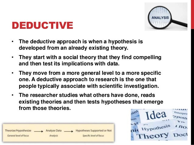 inductive research definition What's the difference between deductive and inductive deductive reasoning uses given information, premises or accepted general rules to reach a proven conclusion on the other hand, inductive logic or reasoning involves making generalizations based upon behavior observed in specific cases.