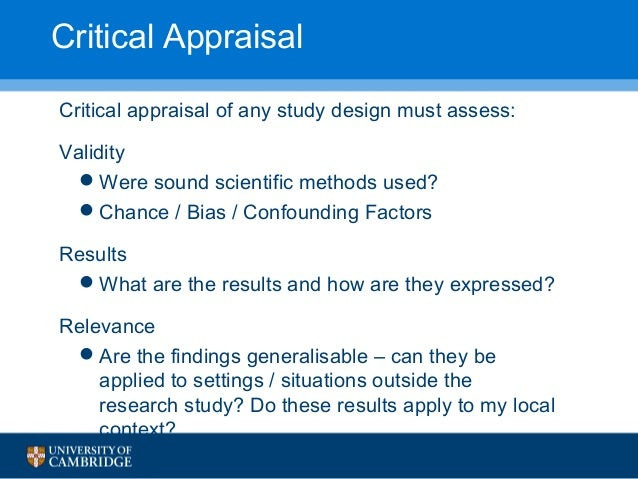 Critical Appraisal from Papers to Patient
