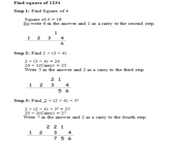 Find square of 65 Step 1: Multiply ten's digit with its next number. 6 × ( 6 + 1 ) = 6 × 7 = 42 Step 2: Find square of uni...