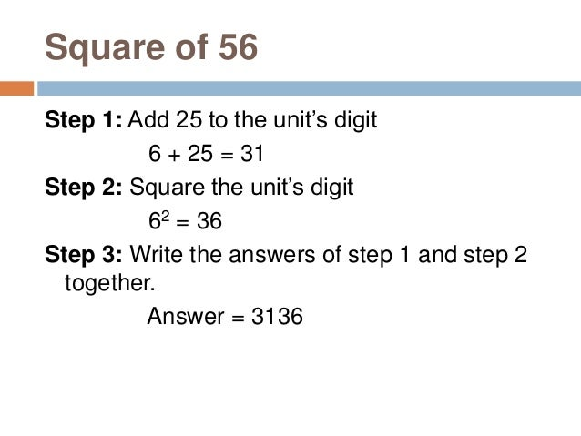 Square The Number If You Know Square Of Previous Number This method is to find square of the number if you know square of ...