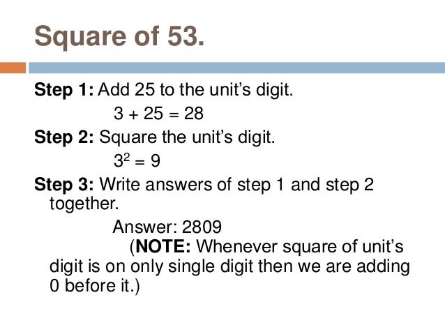 Find square of 26. Step 1: Find square of previous number (25) which is known. 252 = 625 Step 2: Multiply the number being...