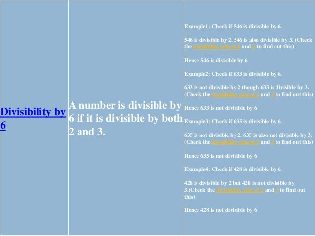 Divisibility by 7 To find out if a number is divisible by 7, double the last digit and subtact it from the number formed b...