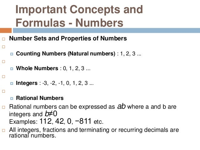 Important Concepts and Formulas - Numbers  Number Sets and Properties of Numbers   Counting Numbers (Natural numbers) :...
